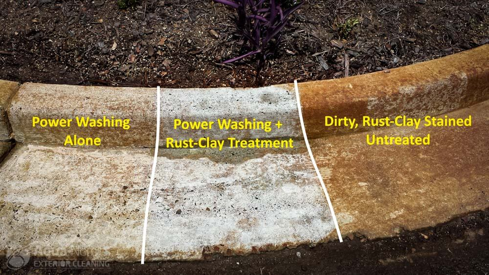 Clay Stains - Before, After PW, After Chemical Treatment