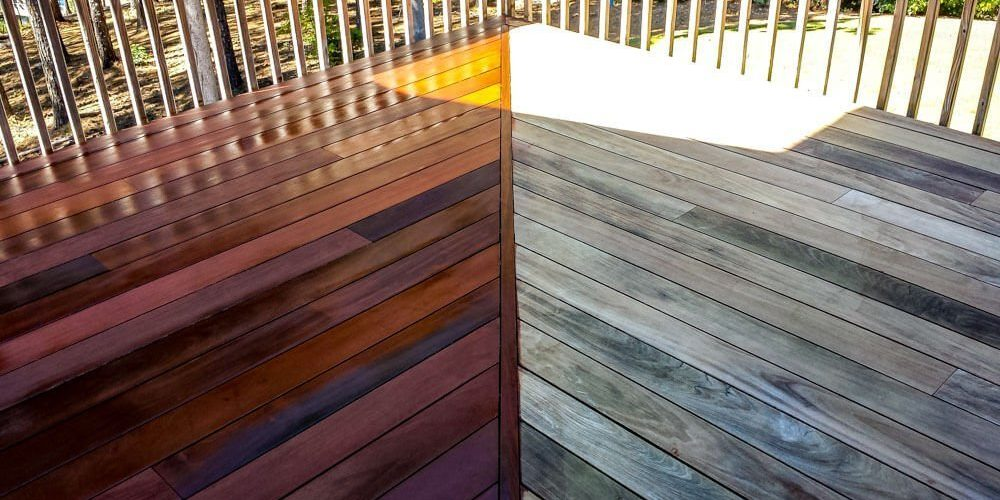 IPE Deck Stain Side-by-Side